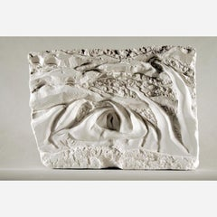 Fertile Sea: white abstract relief sculpture of the ocean, wall or shelf mounted