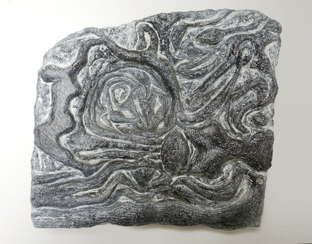 Swimming in Black and White: painted abstract relief sculpture for wall or shelf