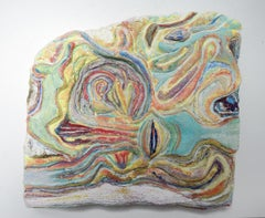 Swimming in Color: painted abstract relief sculpture w/ water, for wall or shelf