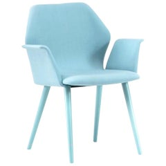 Ava Blue Armchair, Designed by Michael Schmidt, Made in Italy