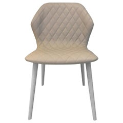 In Stock in Los Angeles, Ava Beige Leather Quilted Chair by Michael Schmidt