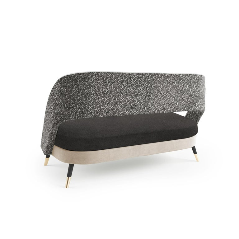 Comfortable and elegant, Ava settee is a versatile piece where creativity meets no boundaries: fabrics, solid woods, lacquers and brass fittings are chosen and combined in many ways to produce the perfect combination to each space and concept.