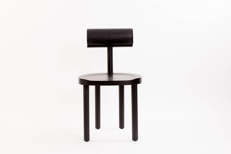 Modern Available Now, UNA Dining Chair in Black Stained Oak with Leather Back by EP For Sale