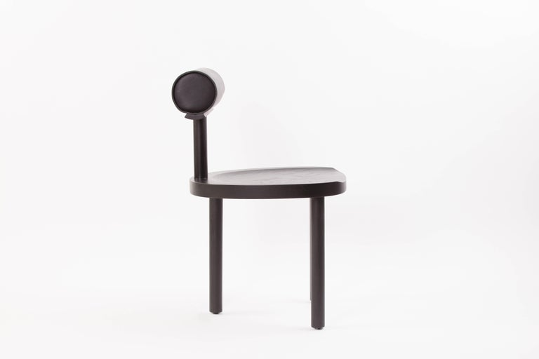American Available Now, UNA Dining Chair in Black Stained Oak with Leather Back by EP For Sale