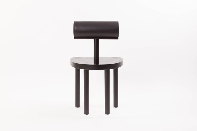 Available Now, UNA Dining Chair in Black Stained Oak with Leather Back by EP In New Condition For Sale In Los Angeles, CA