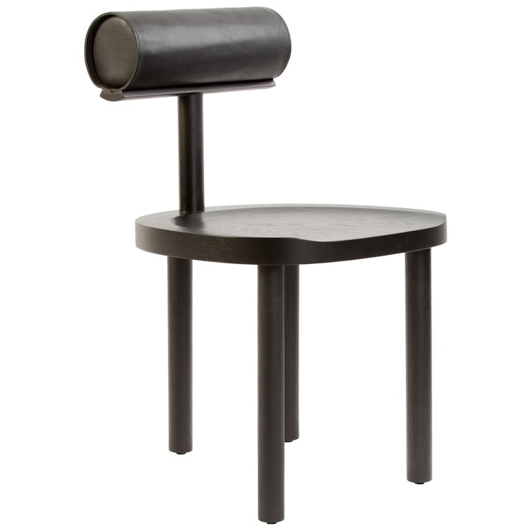 Available Now, UNA Dining Chair in Black Stained Oak with Leather Back by EP For Sale