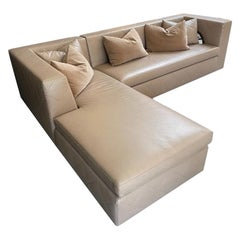 Avalon Sectional Chaise, Modern Design in Lealpell Leather with Bronze Porthole