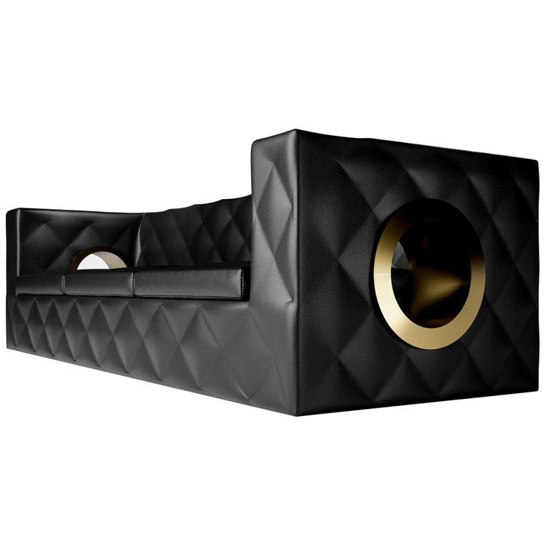 AVALON SOFA - Modern Black Leather Sofa with Bronze Metallic Porthole