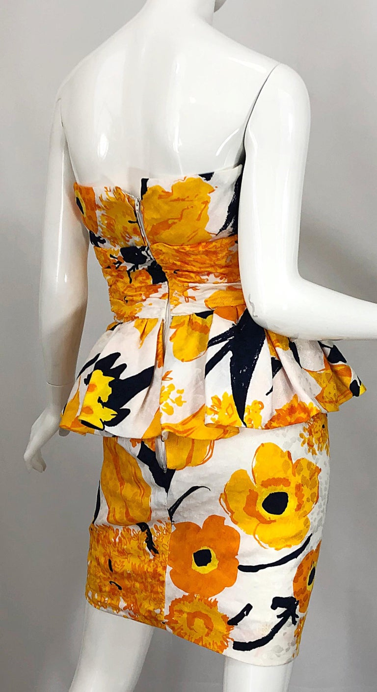 Avant Garde 1980s Amen Wardy Abstract Flower Print Vintage 80s Strapless Dress For Sale 7