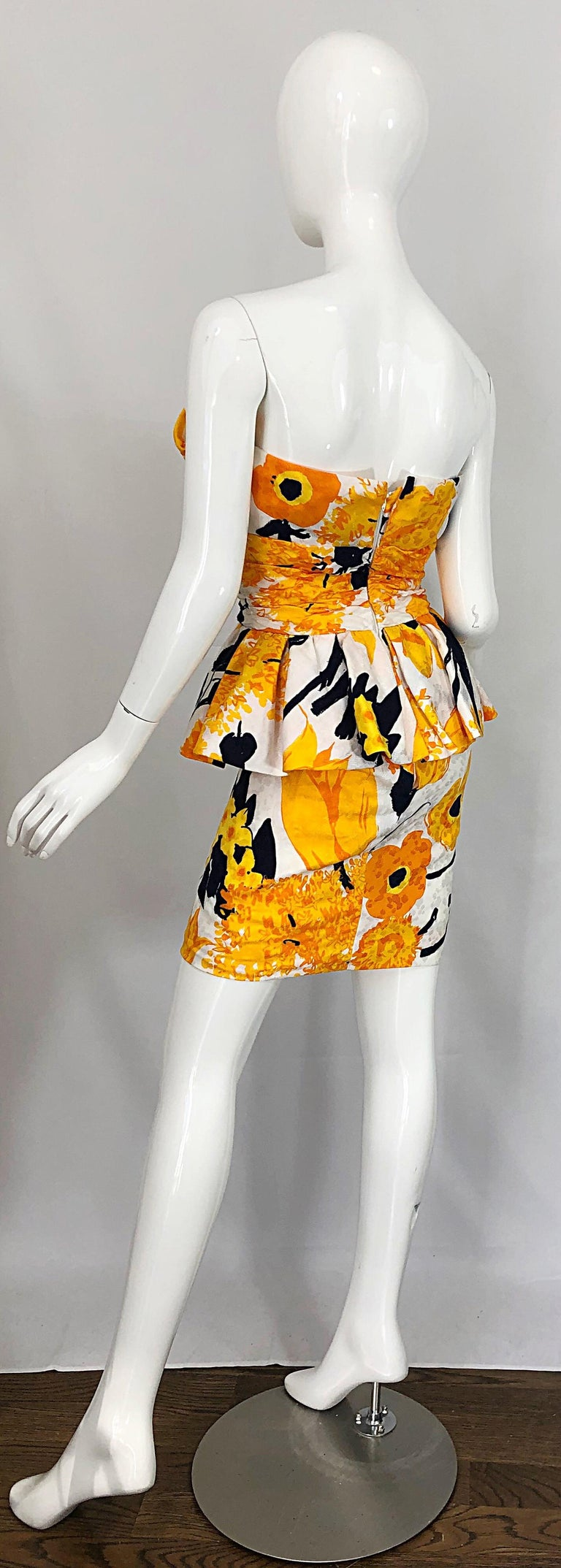Avant Garde 1980s Amen Wardy Abstract Flower Print Vintage 80s Strapless Dress For Sale 9