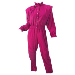 Avant Garde 1980s Hot Pink Magenta Cotton Dolman Sleeve Vintage 80s Jumpsuit