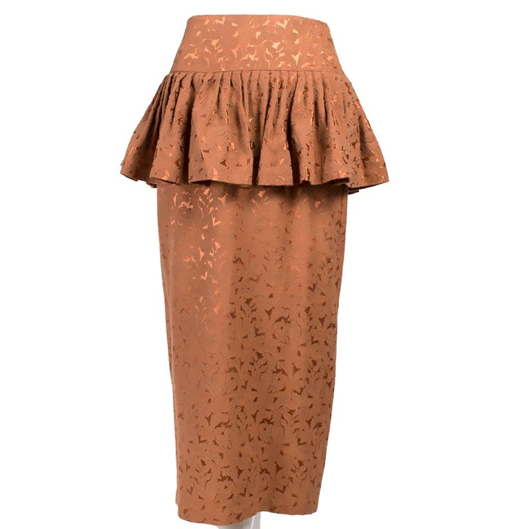 Avant Garde 1980s Norma Kamali Vintage Copper Dress 2 pc Skirt & Jacket Suit In Excellent Condition For Sale In Portland, OR