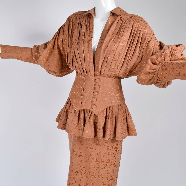 Women's Avant Garde 1980s Norma Kamali Vintage Copper Dress 2 pc Skirt & Jacket Suit For Sale