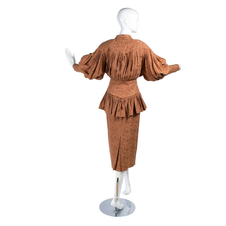 Avant Garde 1980s Norma Kamali Vintage Copper Dress 2 pc Skirt & Jacket Suit For Sale 1