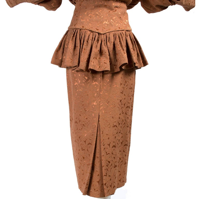 Avant Garde 1980s Norma Kamali Vintage Copper Dress 2 pc Skirt & Jacket Suit For Sale 4