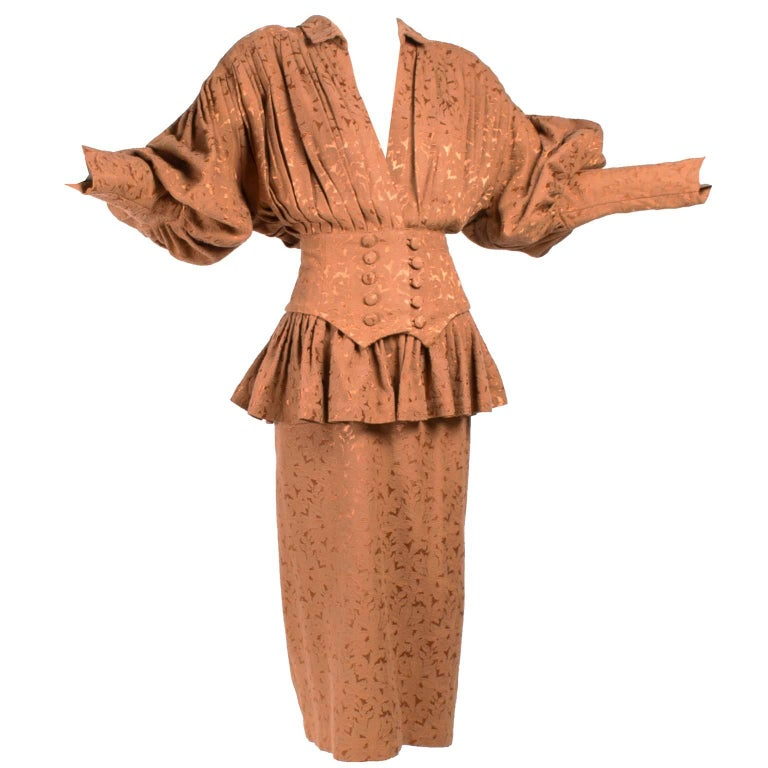 Avant Garde 1980s Norma Kamali Vintage Copper Dress 2 pc Skirt & Jacket Suit For Sale