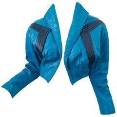 Avant Garde 1980s Teal Blue Black Leather Vintage 80s Cropped Jacket Medium