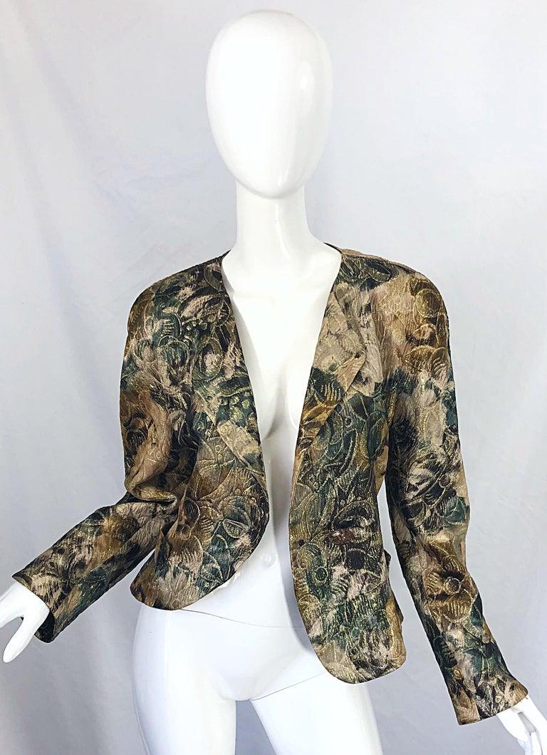 Avant Garde 1990s Krizia Metallic Asymmetrical Vintage 90s Silk Skirt Suit  For Sale 5