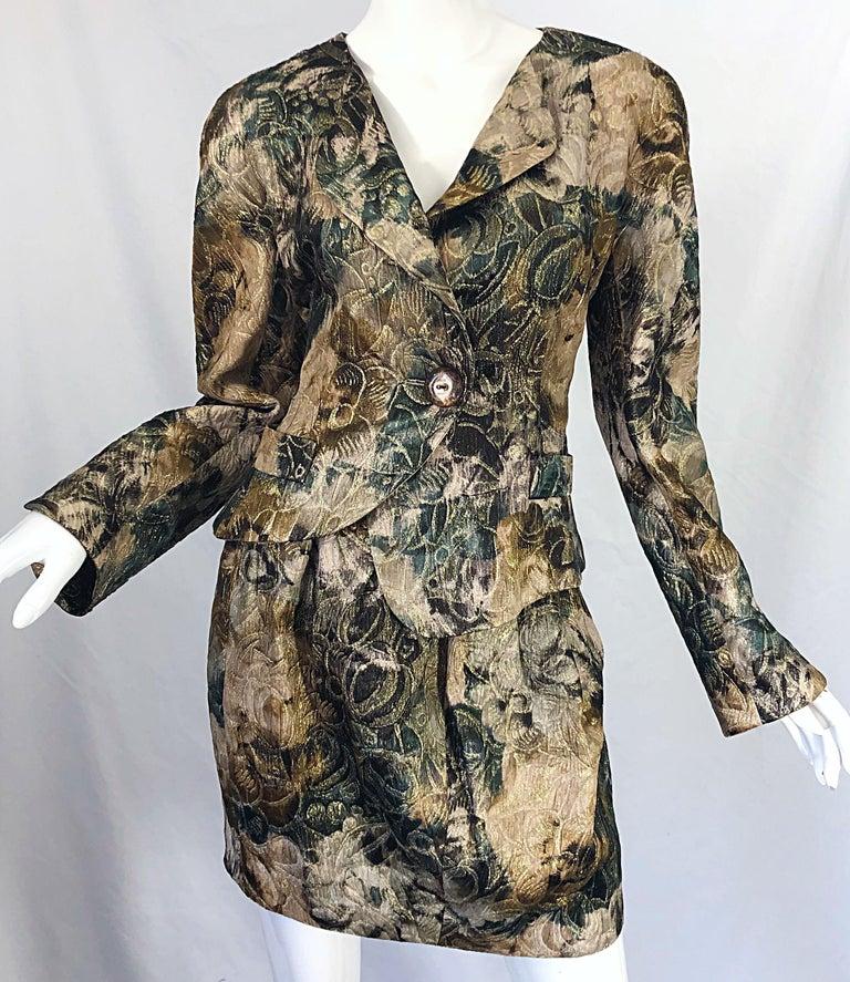 Avant Garde 1990s Krizia Metallic Asymmetrical Vintage 90s Silk Skirt Suit  For Sale 6