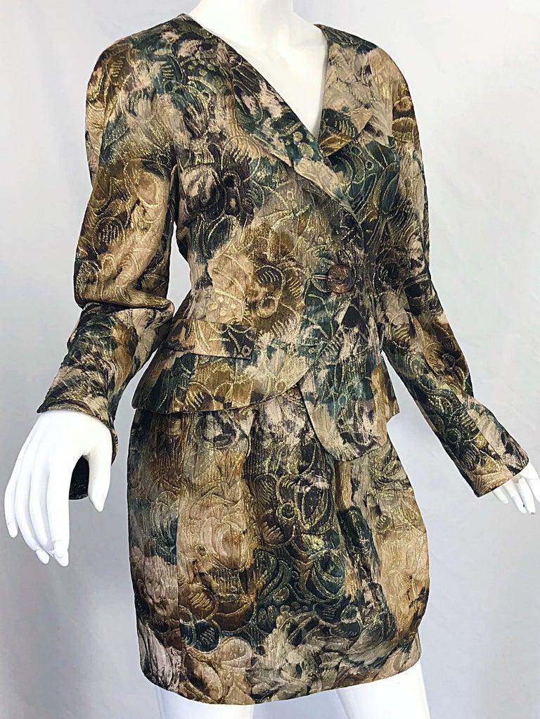 Avant Garde 1990s Krizia Metallic Asymmetrical Vintage 90s Silk Skirt Suit  For Sale 7