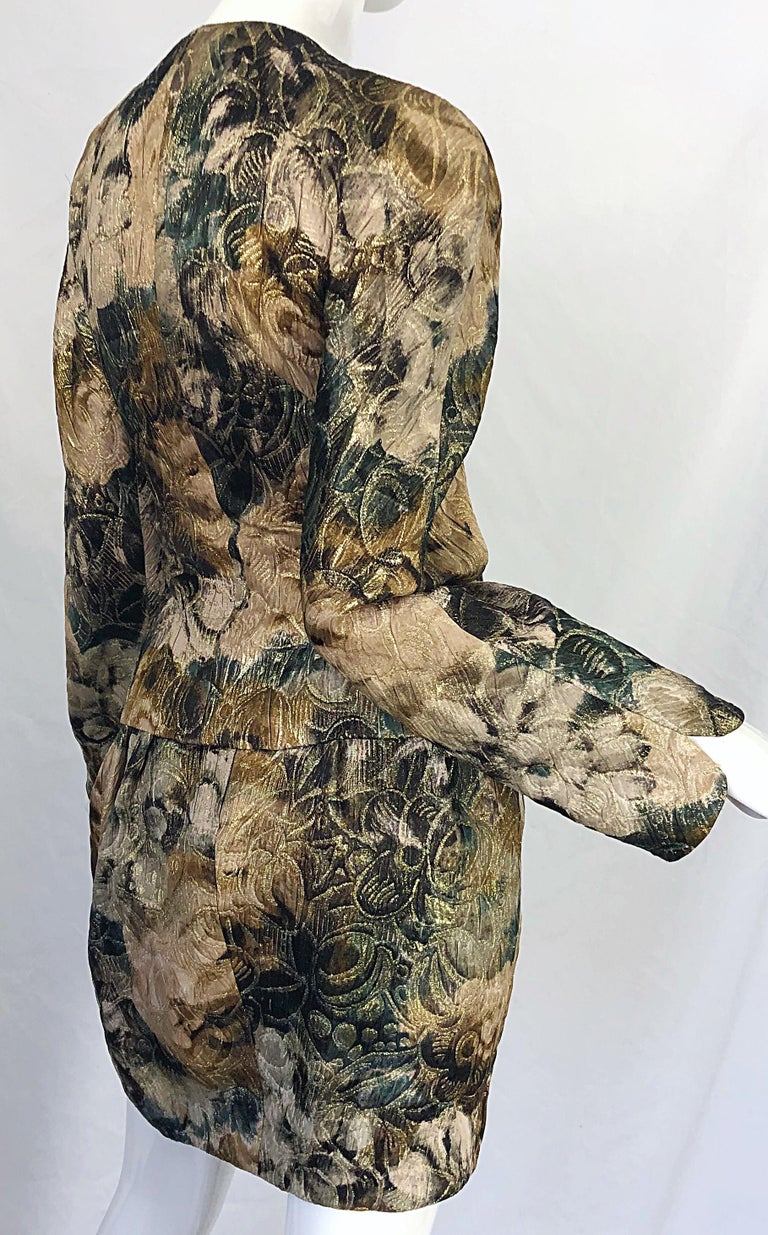 Avant Garde 1990s Krizia Metallic Asymmetrical Vintage 90s Silk Skirt Suit  For Sale 8