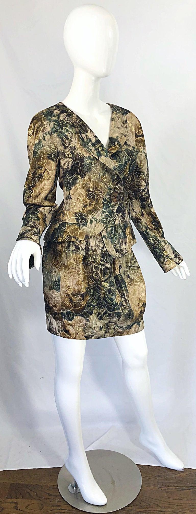 Avant Garde 1990s Krizia Metallic Asymmetrical Vintage 90s Silk Skirt Suit  For Sale 9