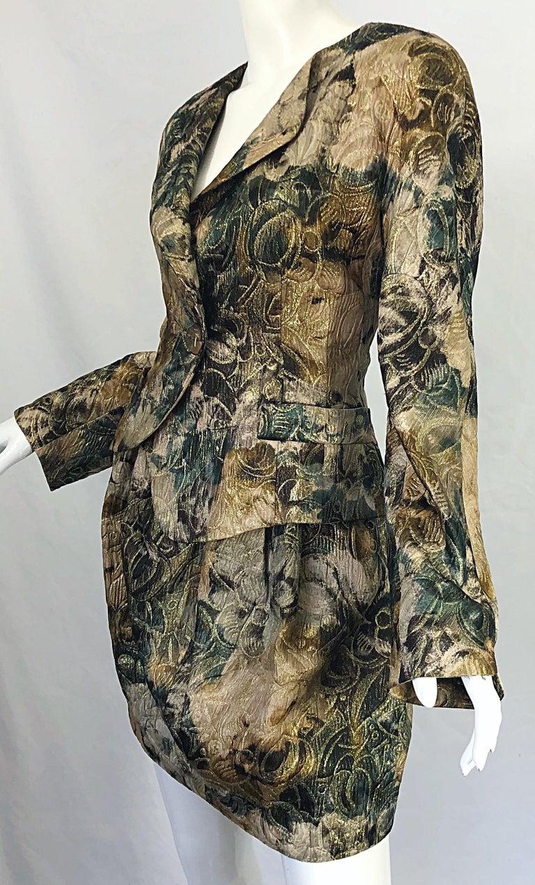 Avant Garde 1990s Krizia Metallic Asymmetrical Vintage 90s Silk Skirt Suit  For Sale 10
