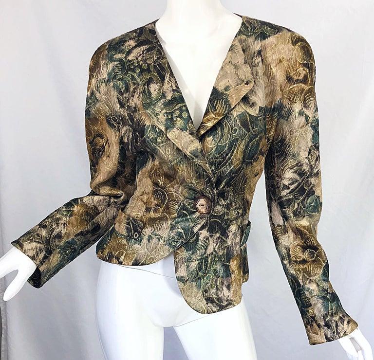 Avant Garde 1990s Krizia Metallic Asymmetrical Vintage 90s Silk Skirt Suit  For Sale 12