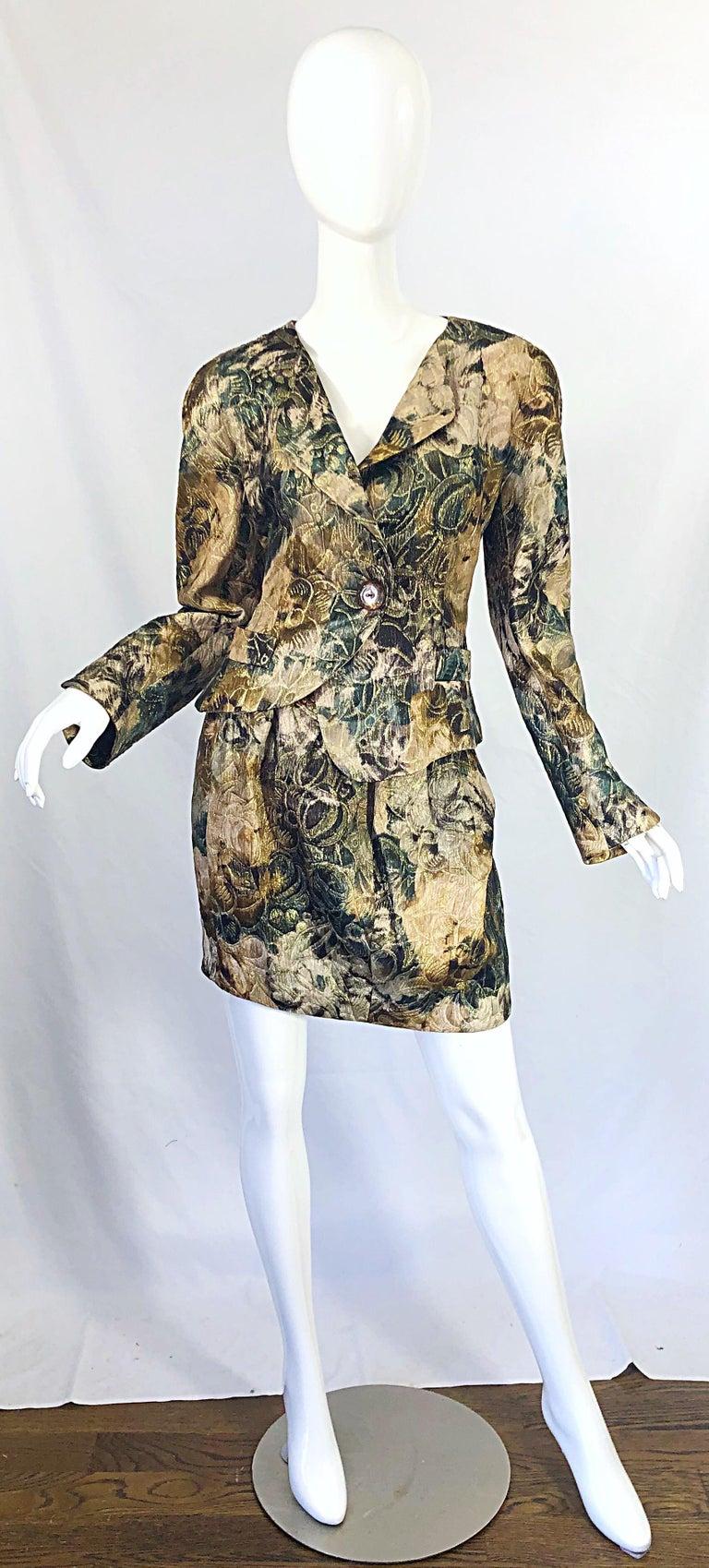 Avant Garde 1990s Krizia Metallic Asymmetrical Vintage 90s Silk Skirt Suit  For Sale 13