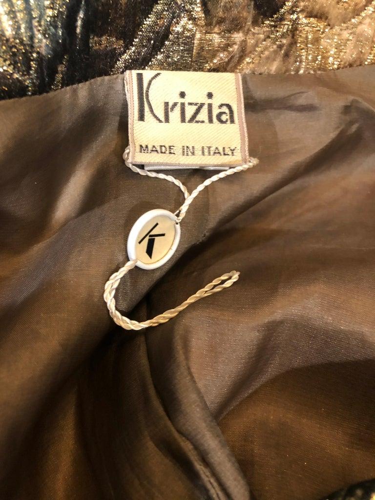 Brown Avant Garde 1990s Krizia Metallic Asymmetrical Vintage 90s Silk Skirt Suit  For Sale