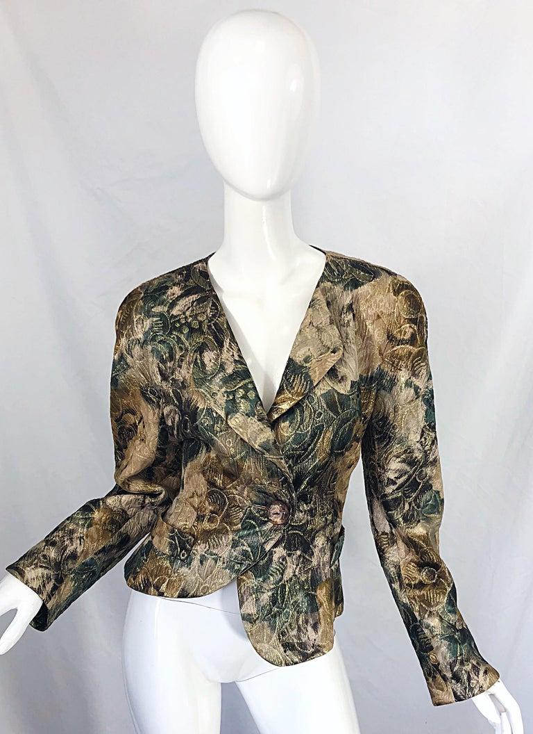 Avant Garde 1990s Krizia Metallic Asymmetrical Vintage 90s Silk Skirt Suit  In Excellent Condition For Sale In Chicago, IL