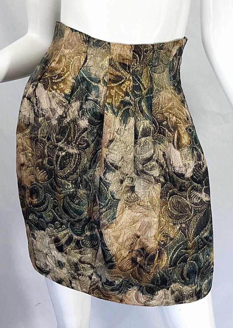 Women's Avant Garde 1990s Krizia Metallic Asymmetrical Vintage 90s Silk Skirt Suit  For Sale