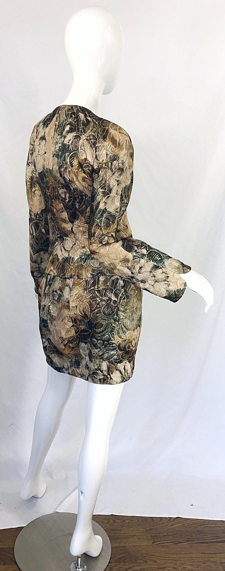 Avant Garde 1990s Krizia Metallic Asymmetrical Vintage 90s Silk Skirt Suit  For Sale 1