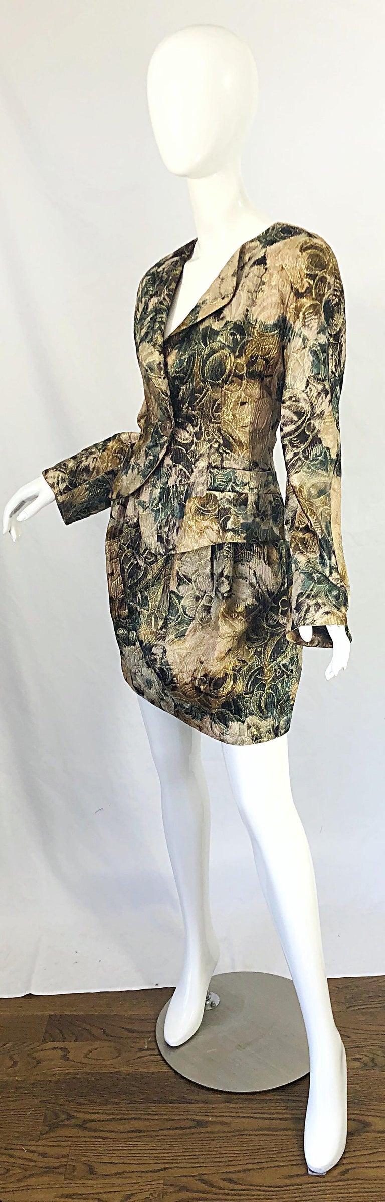 Avant Garde 1990s Krizia Metallic Asymmetrical Vintage 90s Silk Skirt Suit  For Sale 3
