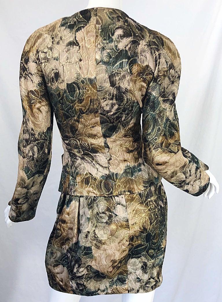Avant Garde 1990s Krizia Metallic Asymmetrical Vintage 90s Silk Skirt Suit  For Sale 4