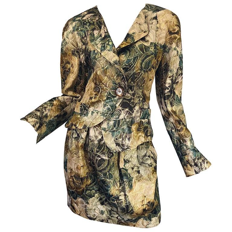 Avant Garde 1990s Krizia Metallic Asymmetrical Vintage 90s Silk Skirt Suit  For Sale