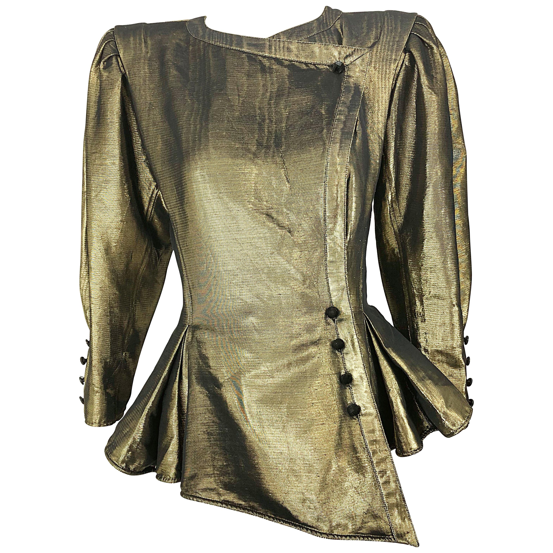 Avant Garde Emanuel Ungaro 1980s Gold Silk Metallic Vintage Peplum 80s Jacket