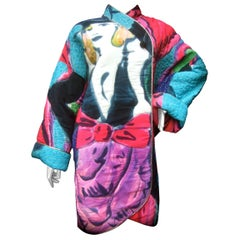 Avant-Garde Graphic Silk Quilted Print Artisan Jacket Bergdorf Goodman c 1980s