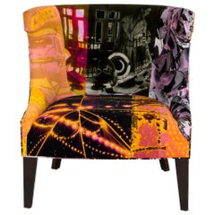 "Avant Garde ""Passages"" Velvet Barrel Back Chair"