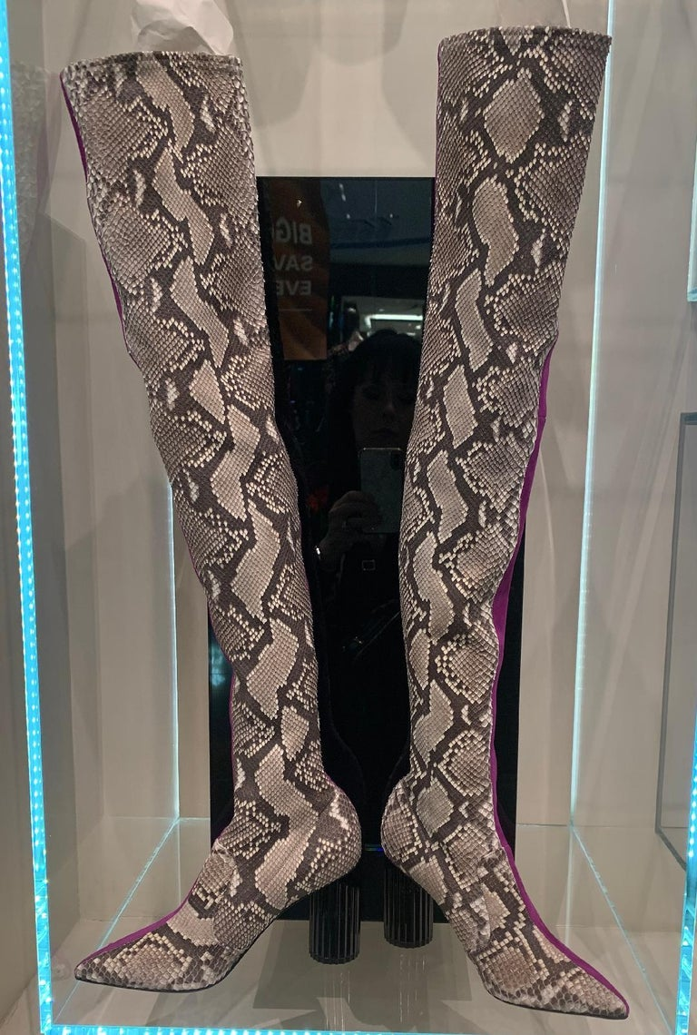 Brown Avant Garde Roberto Cavalli Magenta Suede Two Tone Thigh High Boots Size 41 For Sale