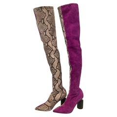 Avant Garde Roberto Cavalli Magenta Suede Two Tone Thigh High Boots Size 41