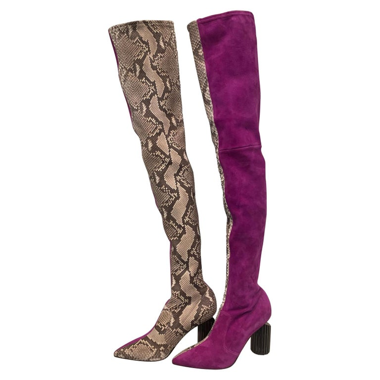 Avant Garde Roberto Cavalli Magenta Suede Two Tone Thigh High Boots Size 41 For Sale