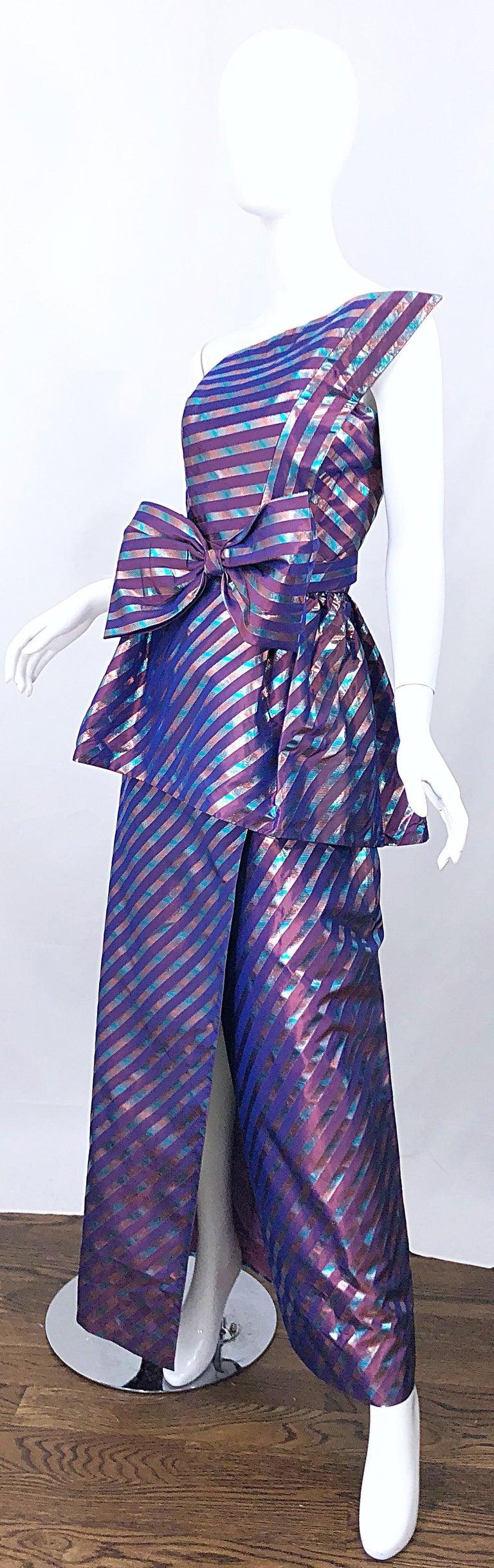 Avant Garde Ruben Parnis 1980s Sz 8 / 10 Vintage One Shoulder Prurple Silk Gown For Sale 5