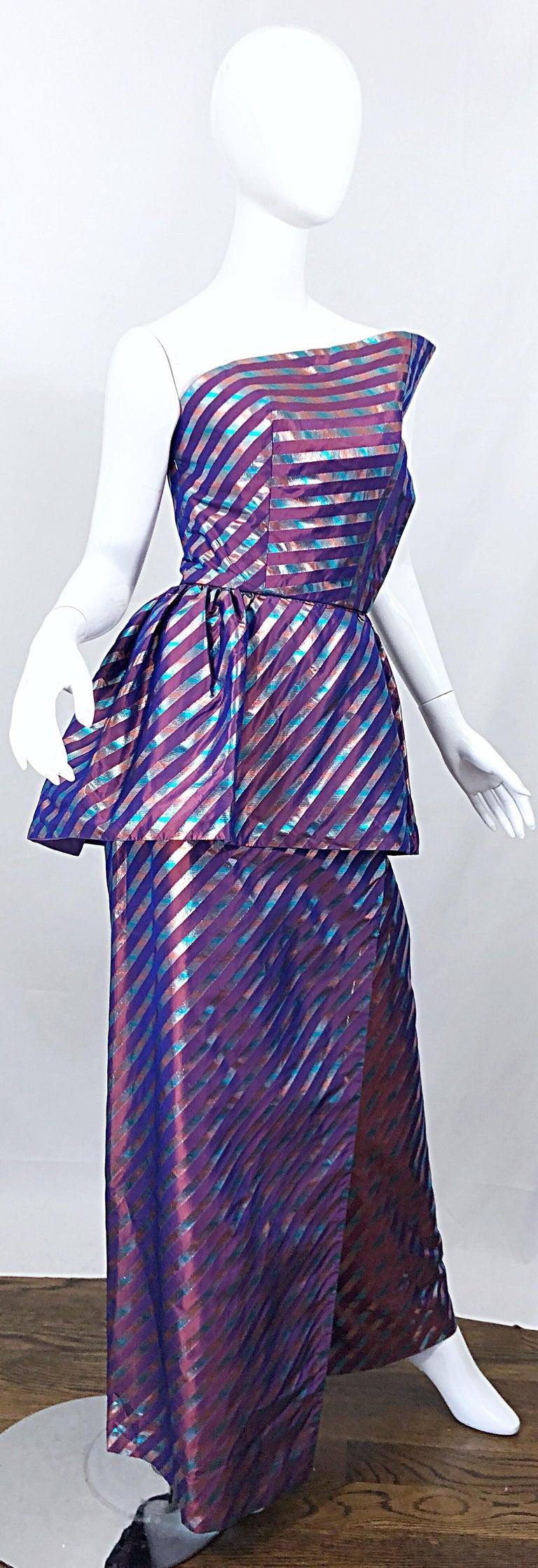 Avant Garde Ruben Parnis 1980s Sz 8 / 10 Vintage One Shoulder Prurple Silk Gown For Sale 6
