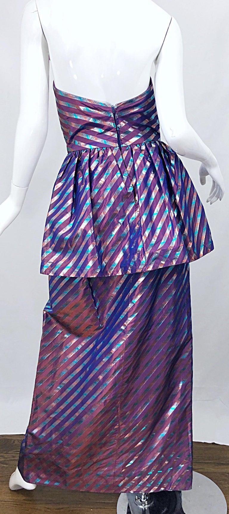 Avant Garde Ruben Parnis 1980s Sz 8 / 10 Vintage One Shoulder Prurple Silk Gown For Sale 7