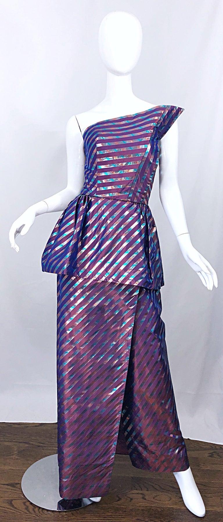 Avant Garde Ruben Parnis 1980s Sz 8 / 10 Vintage One Shoulder Prurple Silk Gown For Sale 8