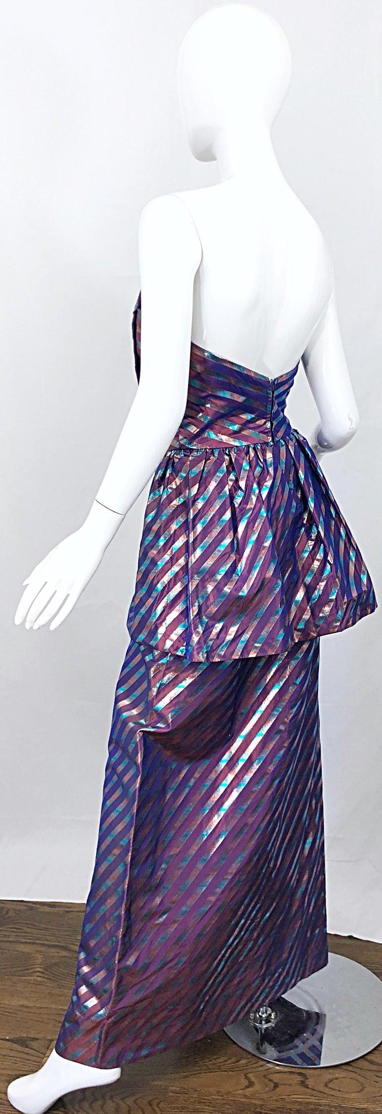 Avant Garde Ruben Parnis 1980s Sz 8 / 10 Vintage One Shoulder Prurple Silk Gown For Sale 9