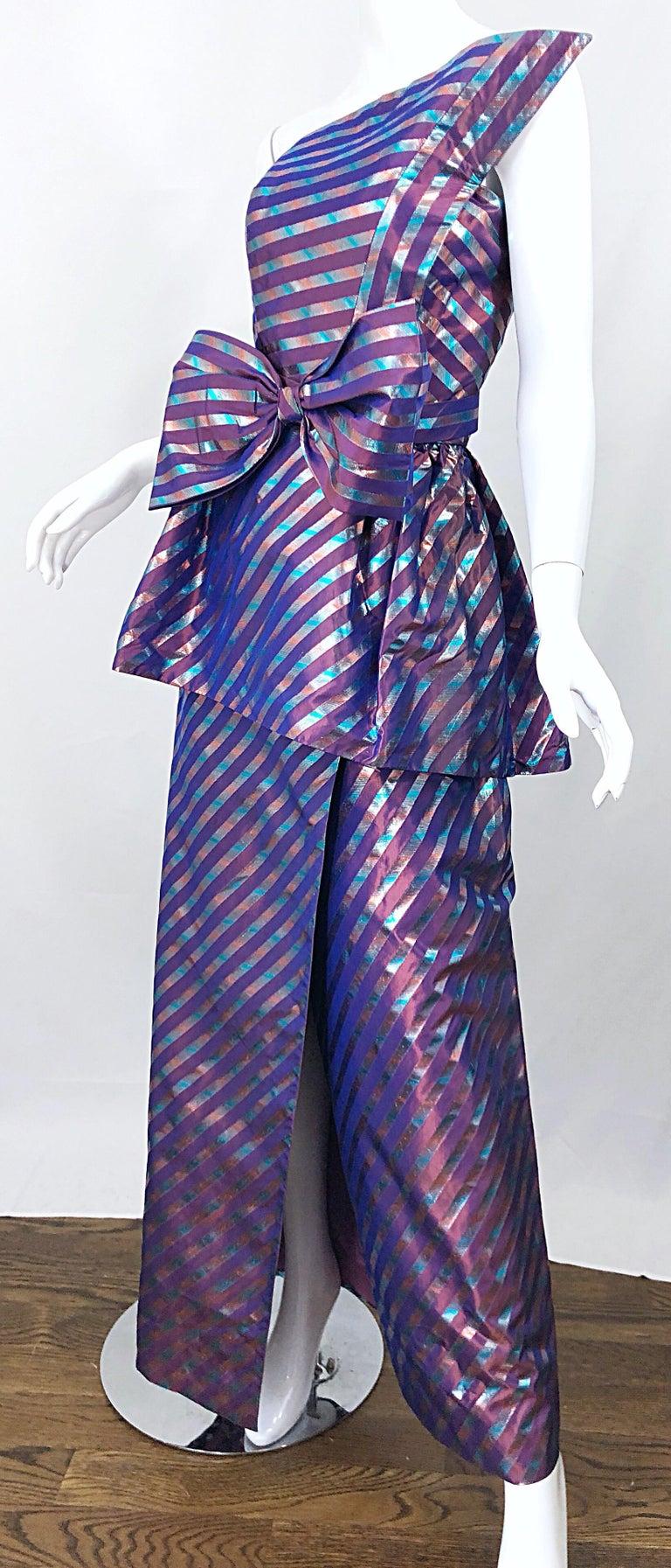 Avant Garde Ruben Parnis 1980s Sz 8 / 10 Vintage One Shoulder Prurple Silk Gown For Sale 10