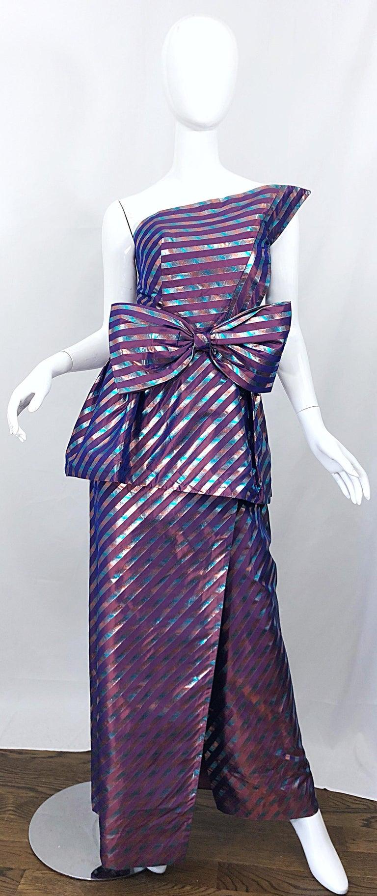 Avant Garde Ruben Parnis 1980s Sz 8 / 10 Vintage One Shoulder Prurple Silk Gown For Sale 11