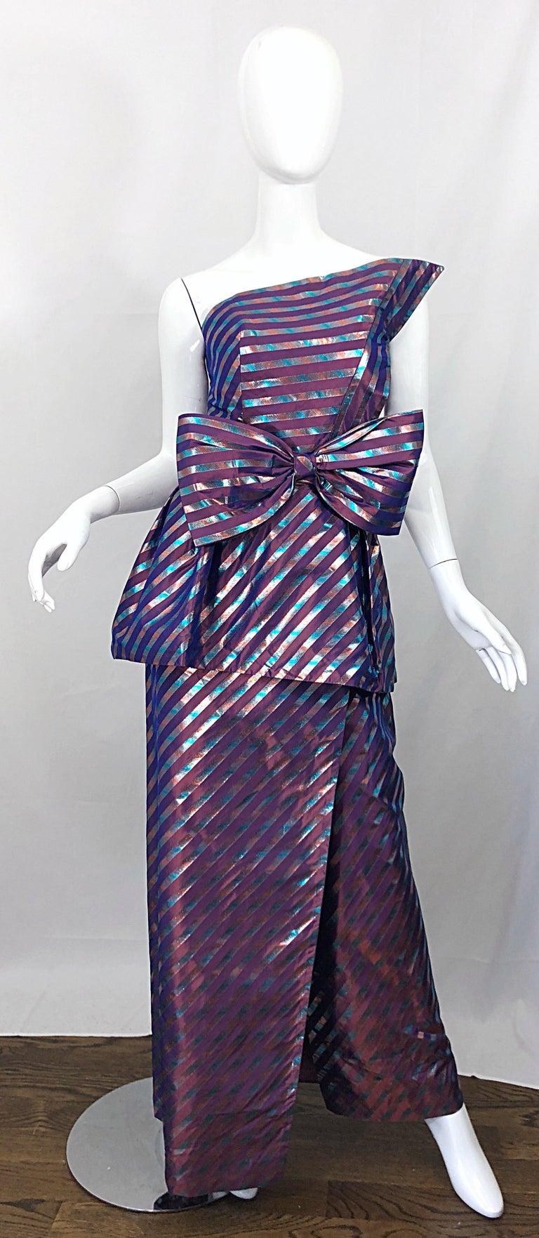 Avant Garde Ruben Parnis 1980s Sz 8 / 10 Vintage One Shoulder Prurple Silk Gown For Sale 12